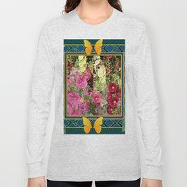 PINK HOLLYHOCKS & YELLOW  BUTTERFLIES TEAL Long Sleeve T-shirt