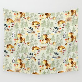 Adventure Awaits - Little Wild Animals In Woodland Forest Wall Tapestry