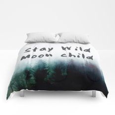 Stay wild moon child watercolor Comforters