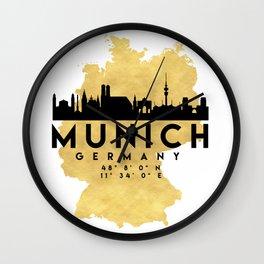 MUNICH GERMANY SILHOUETTE SKYLINE MAP ART Wall Clock
