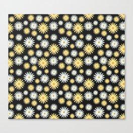 Watecolor Daisies Pattern | Black Canvas Print