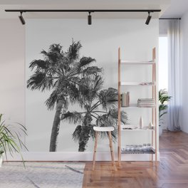 B&W Palm Tree Print | Black and White Summer Sky Beach Surfing Photography Art Wall Mural