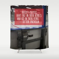 hockey Shower Curtains featuring Hockey Love by Chalene Malekoff