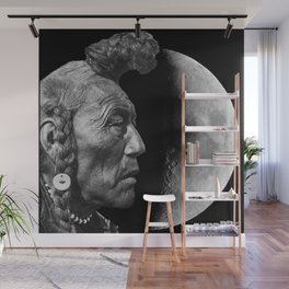 Indigenous Moon - Collage Art - Native American Tribe Moon Wall Mural
