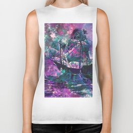 Watercolor Purple and Teal Ship (Color) Biker Tank