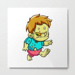 Cute zombie running cartoon Metal Print