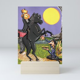 Head-less Horseman & IchabodCrane Exchanging Pumpkin For Pie Under Harvest Moon Mini Art Print