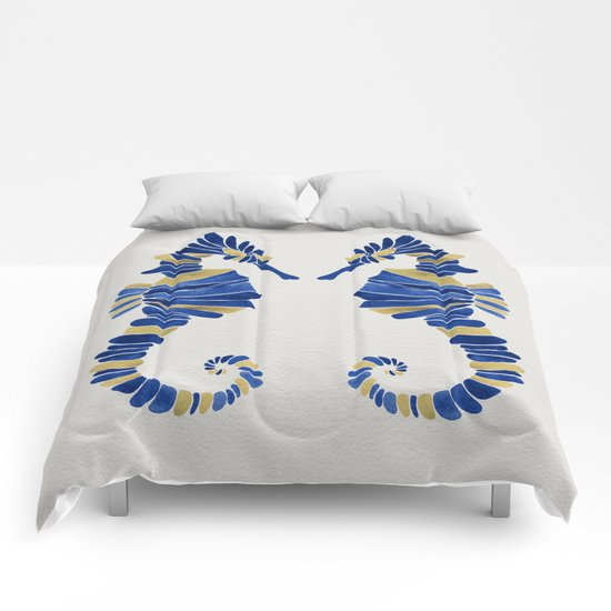 Seahorse – Navy & Gold Comforters