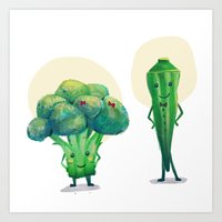 Miss Broccolli and Mr. Okra Art Print