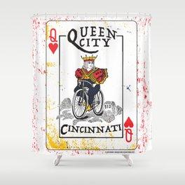 Queen of Cincinnati Bike Print Shower Curtain