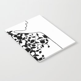 Ornaments in Woman's Back #1 - Black and White #decor #society6 #buyart Notebook