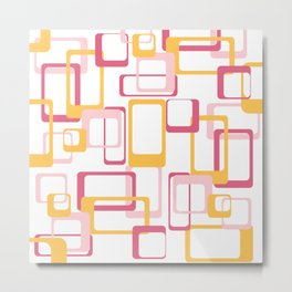 Retro rectangles pink and yellow Metal Print