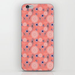 Caduceus in Living Coral Floral iPhone Skin