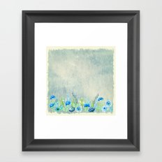 Blue flowers in a meadow- Floral watercolor illustration Framed Art Print