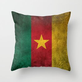Old and Worn Distressed Vintage Flag of Cameroon Throw Pillow
