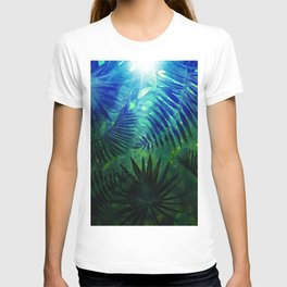 Blue Aloha - Morning Light abstract Tropical Palm Leaves and Monstera Leaf Garden T-shirt