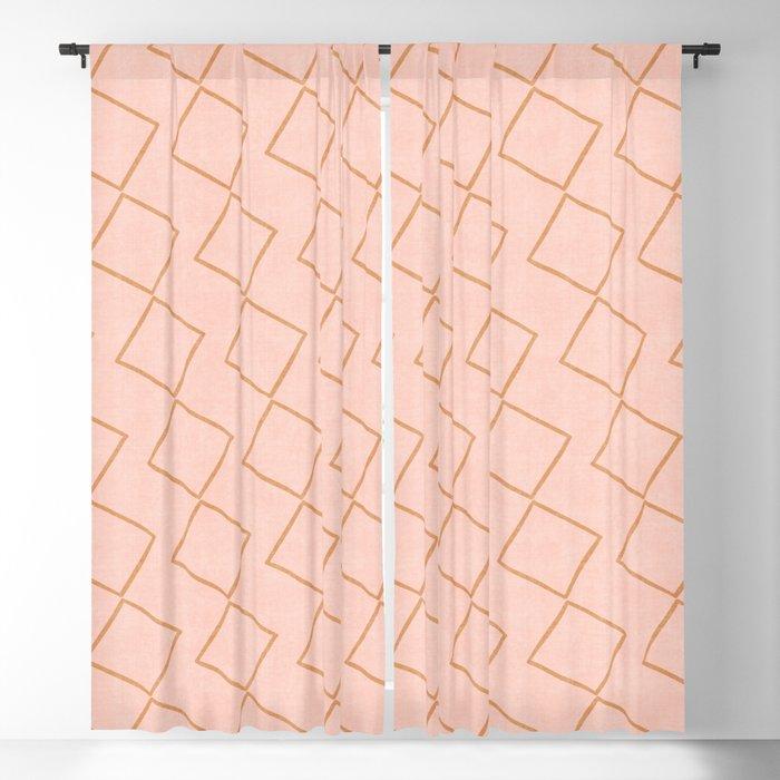 Tilting Diamonds in Peach Blackout Curtain