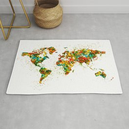 Map of the World watercolor Rug