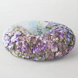 Floral Garden Impressionism in Pretty Purple Floor Pillow