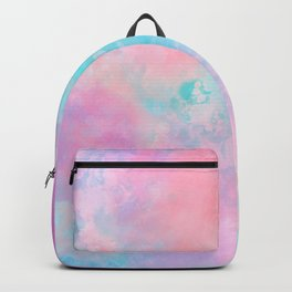 Bright pink turquoise unicorn watercolor paint background Backpack