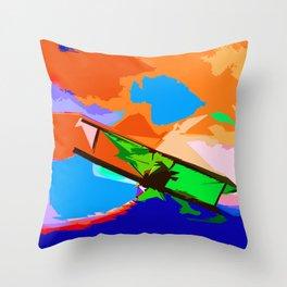 Biplane Aerobatics Throw Pillow