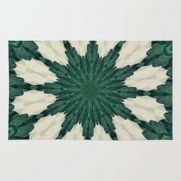 Tropical Sacramento Green and Silver Leaf Mandala Rug
