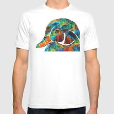 Colorful Wood Duck Art by Sharon Cummings White Mens Fitted Tee 2X-LARGE
