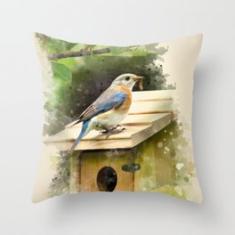 Watercolor Bluebird Art Throw Pillow