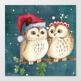 Cute Christmas Winter Owl Couple Painting Canvas Print