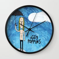 iggy Wall Clocks featuring Iggy Poppins by Levedad