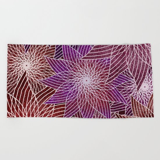 FLORAL IN RED AND VIOLET Beach Towel