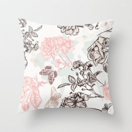 Beautiful rose vintage Victorian style classic floral pattern hand drawn detailed fashion style Throw Pillow