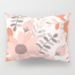 Big Flowers in Pink and Coral Red Pillow Sham