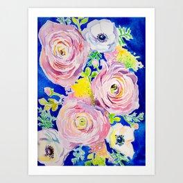 Blue Posey Art Print