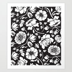 Black Russian Floral Art Print