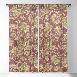 Red & Gold Floral Damasks Pattern Sheer Curtain