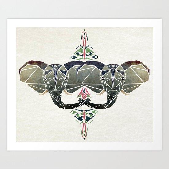 elephant aztec  Art Print