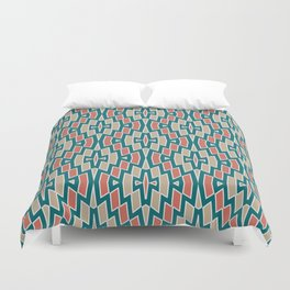 Fragmented Diamond Pattern in Teal, Coral and Tan Duvet Cover