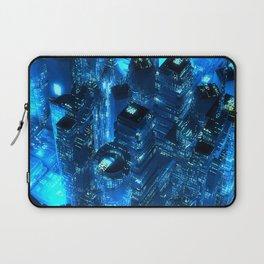Blue neon city skyscrapers modern technology concept Laptop Sleeve