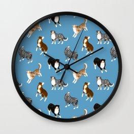 Australian Shepherd Pattern (Blue Background) Wall Clock