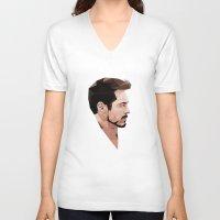 robert downey jr V-neck T-shirts featuring Robert Downey Jr Geometric Style by JamiePowellPrints