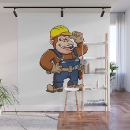 Cartoon of a Gorilla Handyman Wall Mural