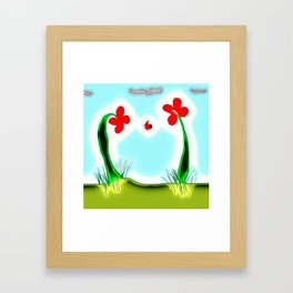 Two Flowers and a Lady Framed Art Print
