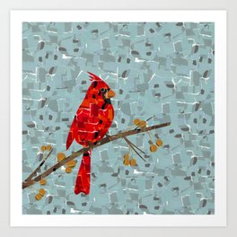 Red Cardinal Collage Art Print