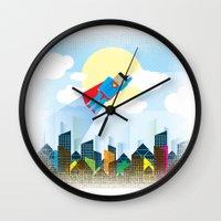 superman Wall Clocks featuring SUPERMAN by voskovski