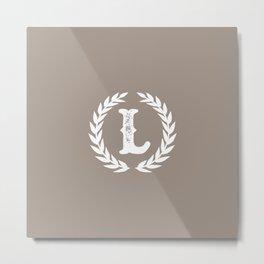 Beige Monogram: Letter L Metal Print