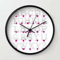 typo Wall Clocks featuring Node Typo by ErDavid