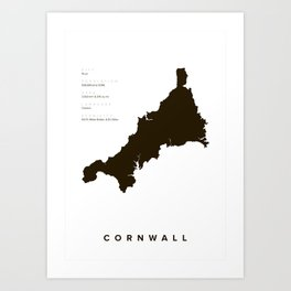 Map of Cornwall - Minimal Poster Art Print