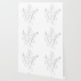 Minimalistic Eucalyptus  Line Art Wallpaper