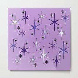 Mid Century Modern Star Sky Purple Metal Print